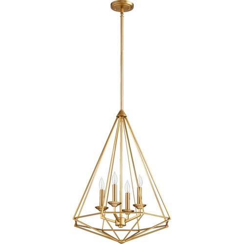 Quorum International Bennett Aged Brass Four-Light Pendant