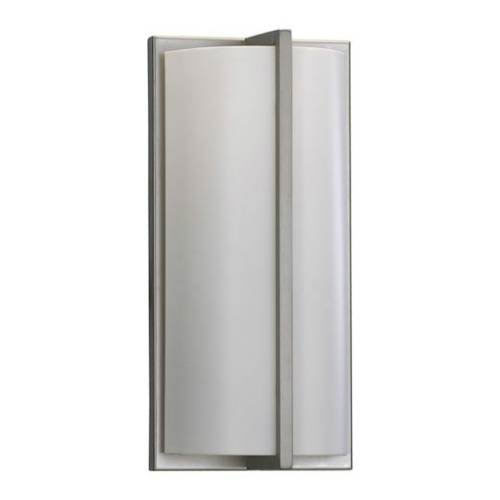 Quorum International Satin Nickel Energy Saving One Light Wall Sconce with Matte White Glass