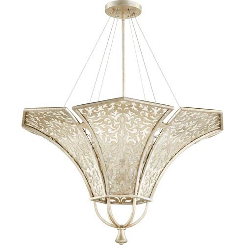 Quorum International Bastille Aged Silver Leaf 34-Inch Six-Light Pendant