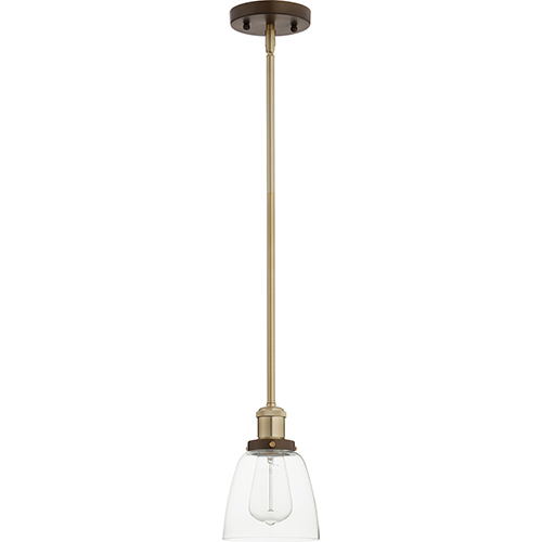 Aged Brass with Oiled Bronze One-Light 5.5-Inch Mini Pendant