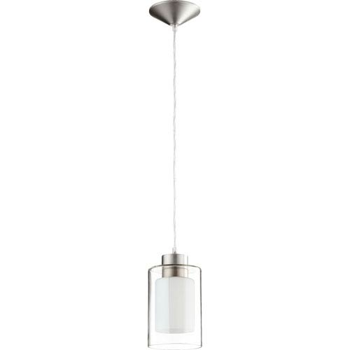Satin Nickel 5-Inch One-Light Mini Pendant with White and Clear Glass