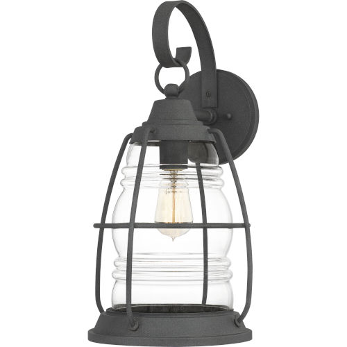 Admiral Mottled Black 20-Inch One-Light Outdoor Lantern with Clear Glass