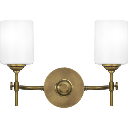 Aria Weathered Brass Two-Light Bath Vanity with Opal Glass