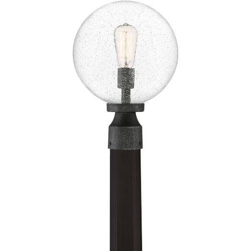 Barre Grey Ash One-Light Outdoor Post Lantern with Transparent Seedy Glass