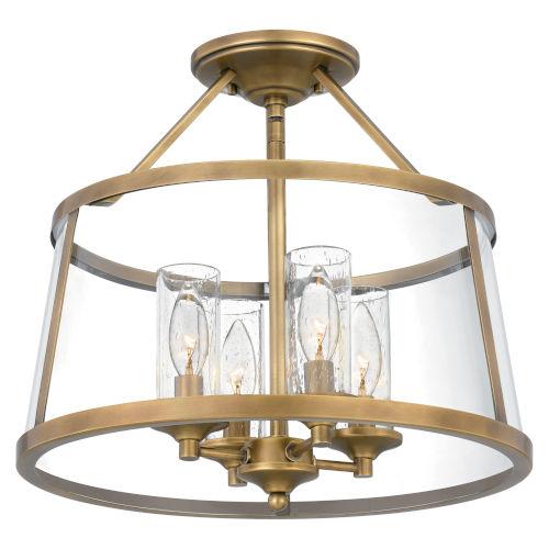Barlow Weathered Brass Four-Light Semi-Flush Mount