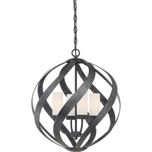 Quoizel Blacksmith Old Black Finish Four-Light Pendant