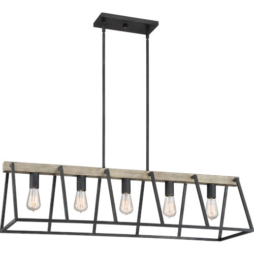 Brockton Grey Ash Five-Light Linear Pendant