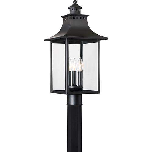Quoizel Chancellor Mystic Black Three-Light Outdoor Post Mount