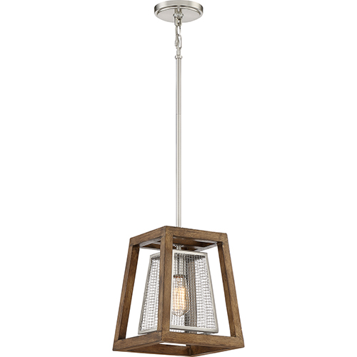 Courtyard Brushed Nickel and Wood One-Light Mini Pendant