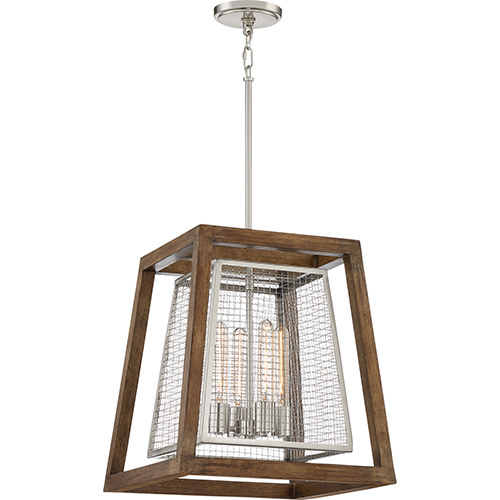 Courtyard Brushed Nickel and Wood Four-Light Pendant