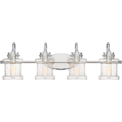 Danbury Polished Chrome 32-Inch Four-Light Bath Light with Clear Seeded Glass