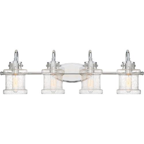 Danbury Polished Chrome 32-Inch Four-Light Bath Light with Clear Seeded Glass