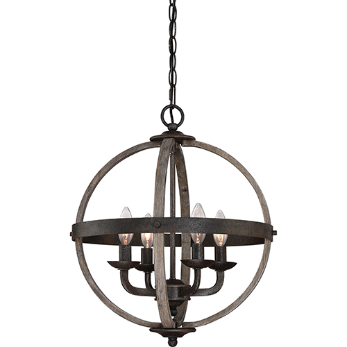 Quoizel Fusion Rustic Black Four-Light Pendant