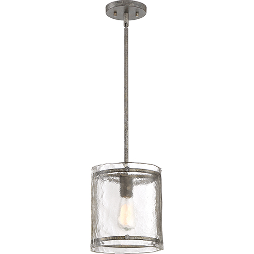 Fortress Mottled Silver One-Light Mini Pendant