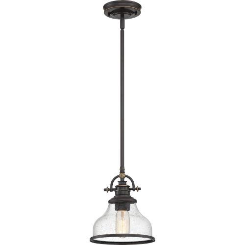Grant Seedy Glass Palladian Bronze One-Light Mini Pendant
