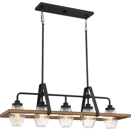 Guilford Grey Ash Five-Light Island Chandelier with Transparent Ribbed Glass