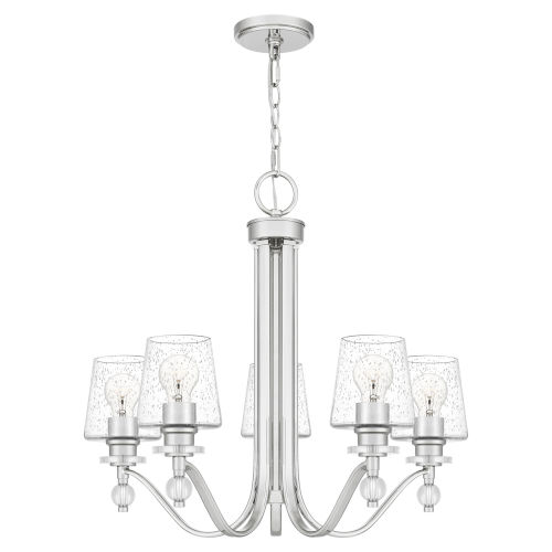 Hollister Polished Nickel Five-Light Chandelier