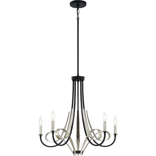 Jada Matte Black Five-Light Chandelier