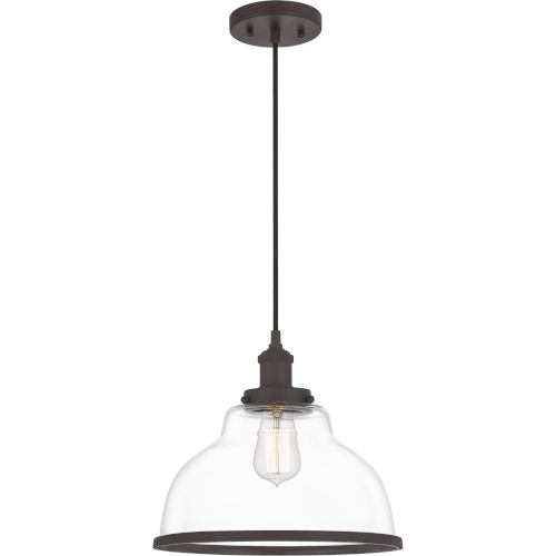 Leo Old Bronze 12-Inch One-Light Pendant with Clear Glass