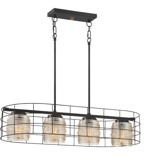 Landings Mottled Cocoa Four-Light Island Chandelier with Amber Plated Glass