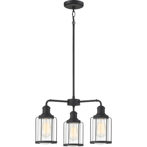 Ludlow Earth Black 20-Inch Three-Light Chandelier