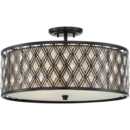 Boutique Mystic Black 22-Inch Four-Light Semi-Flush Mount with Oyster Mica Shade