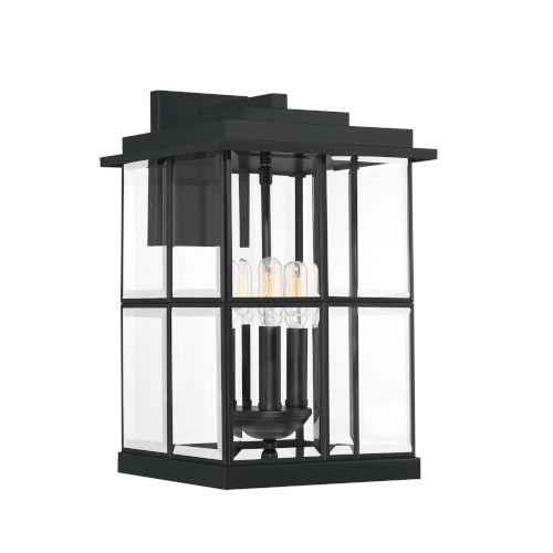 Mulligan Matte Black 10-Inch Three-Light Outdoor Wall Sconce