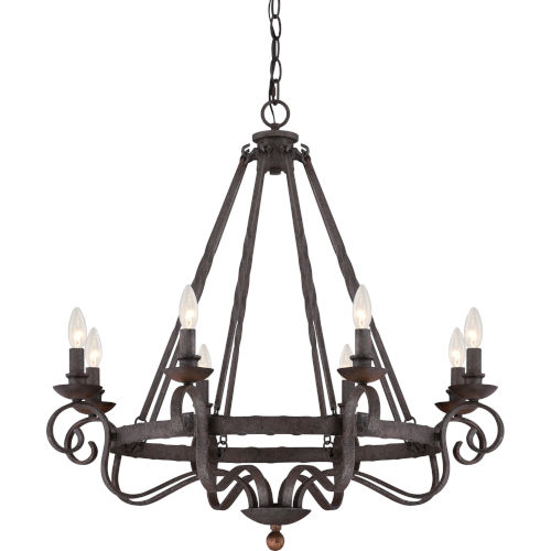 Noble Rustic Black Eight-Light Chandelier