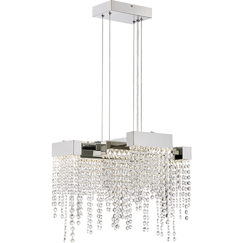 Platinum Collection Crystal Falls Polished Nickel LED Convertible Pendant