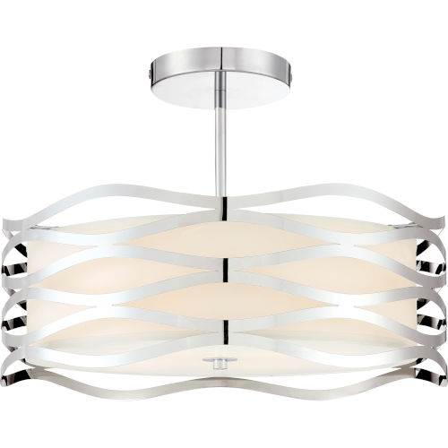 Mystic Polished Chrome 20-Inch Four-Light Semi-Flush Mount with White Organza Shade
