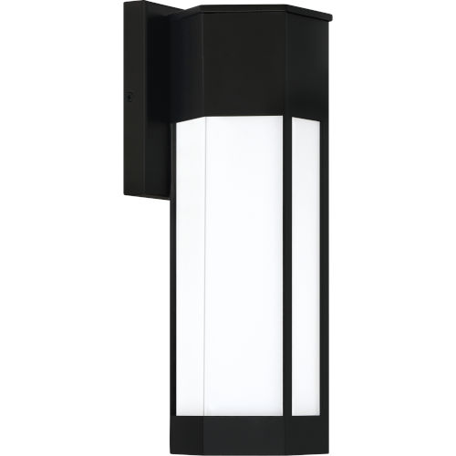 Poe Matte Black Integrated LED 14-Inch One-Light Outdoor Lantern with White Acrylic