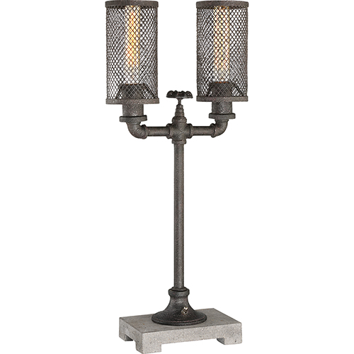 Quoizel Portable Lamp Heavy Rusty with Grey Concrete Finish Two-Light Table Lamp