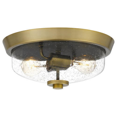 Radius Aged Brass 13-Inch Two-Light Flush Mount with Clear Seeded Glass