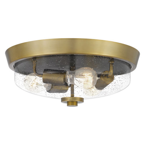 Radius Aged Brass 15-Inch Three-Light Flush Mount with Clear Seeded Glass