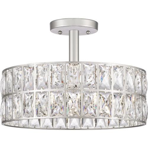 Coffman Polished Nickel Three-Light Semi-Flush Mount with Transparent Crystal