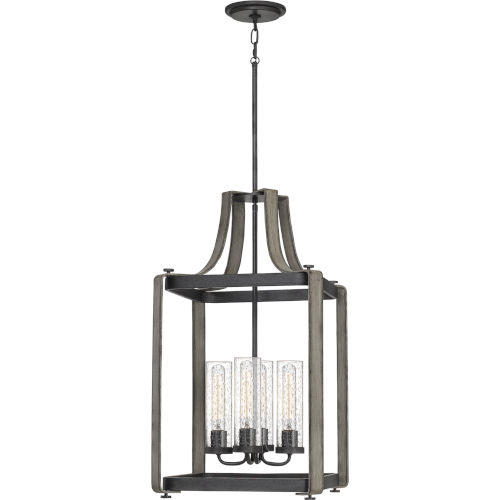 Rowling Weathered White Maple Four-Light Pendant with Transparent Seedy Glass