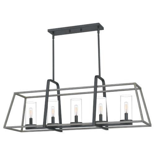 Linear Distressed Iron Five-Light Chandelier