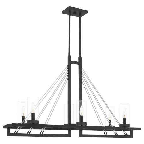 Linear Matte Black Six-Light Chandelier