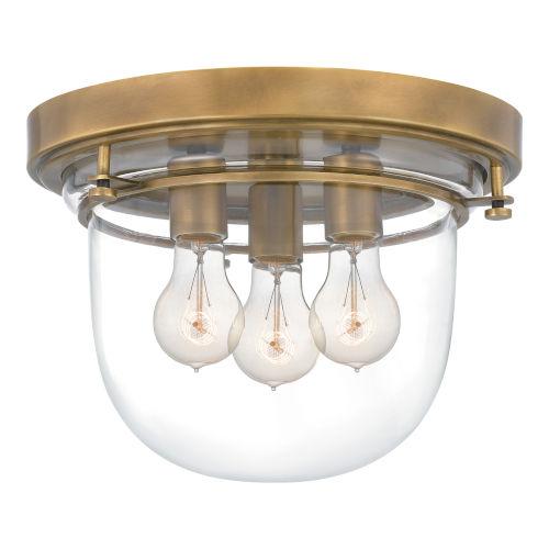 Classic Weathered Brass Three-Light Flush Mount