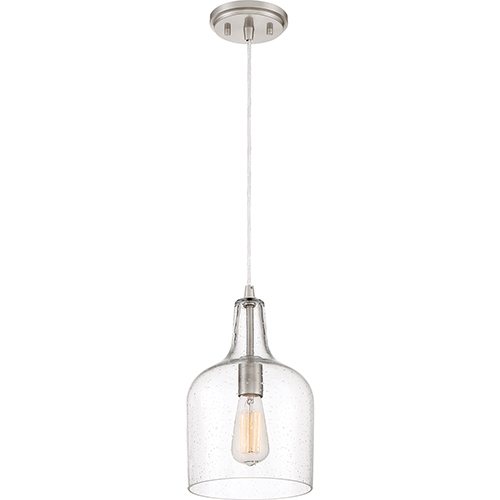 Quoizel Piccolo Brushed Nickel Eight-Inch One-Light Mini Pendant