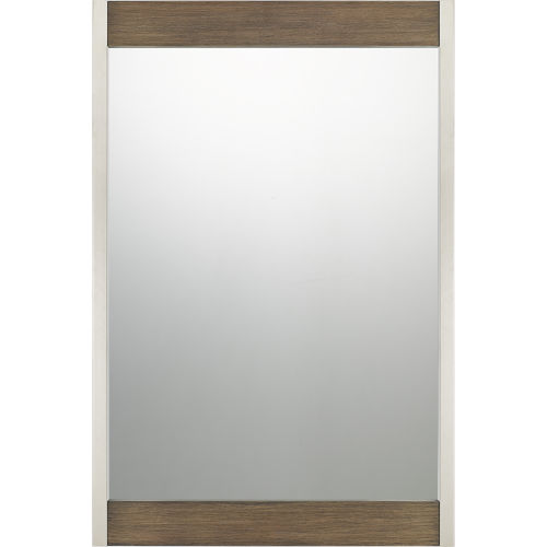 Reflections Brushed Silver and Wood Veneer Mirror