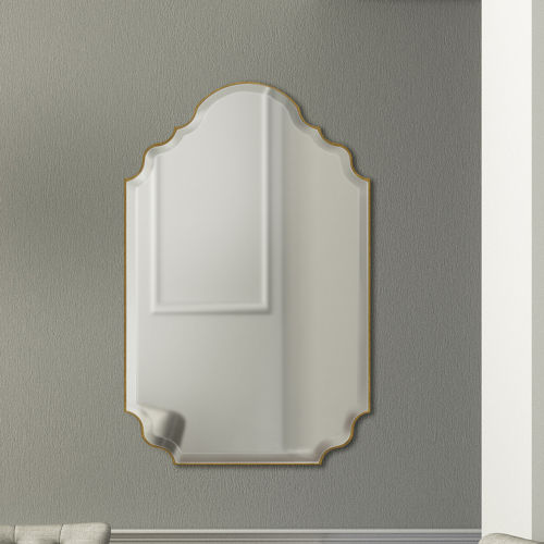 Camille Clear 23-Inch Arched Gold Frame Mirror