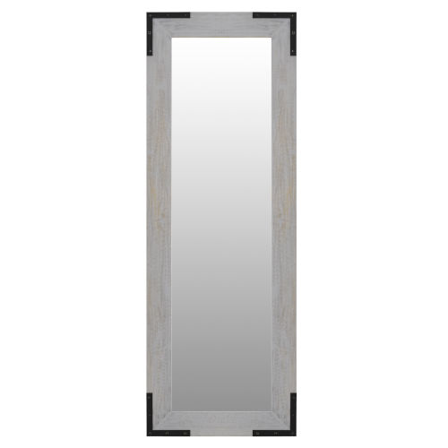Rollins Clear 24-Inch Wood Rectangle with Iron Accents Mirror