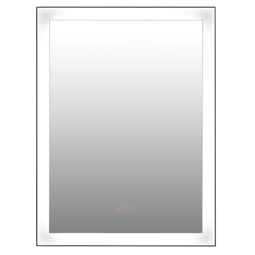 Greer Matte Black 23-Inch Integrated LED Lighted Mirror