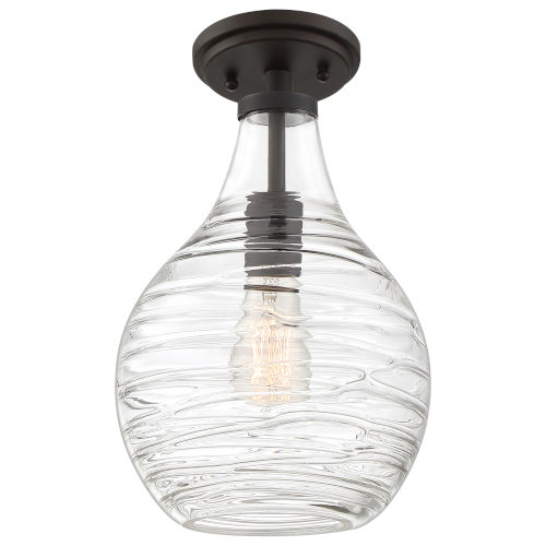 Genie Old Bronze 9-Inch One-Light Semi-Flush Mount with Clear Glass