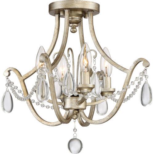 Regent Vintage Gold Four-Light Semi Flush Mount