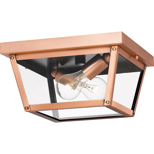 Rue De Royal Aged Copper Two-Light Outdoor Flush Mount