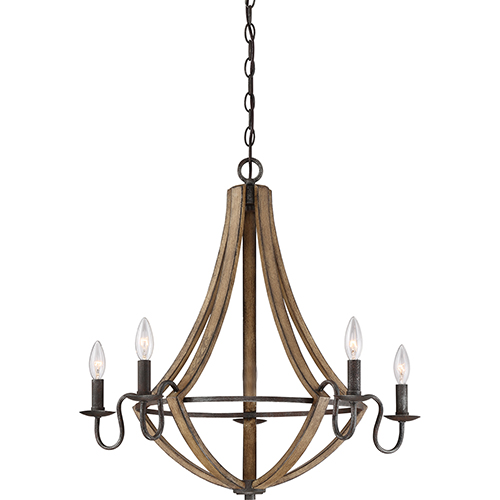 Quoizel Shire Rustic Black Five-Light Chandelier