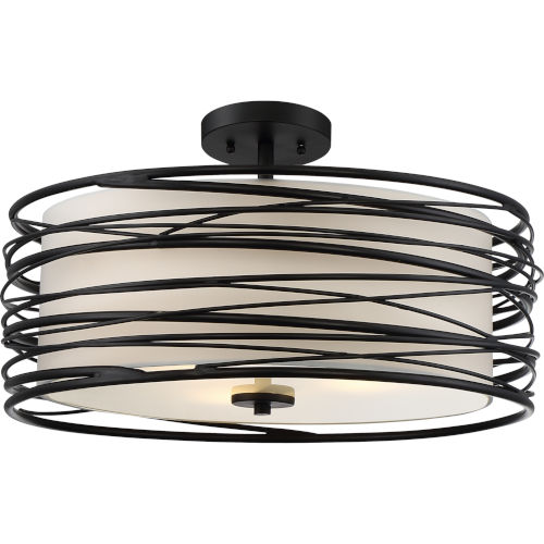 Spiral Mystic Black 20-Inch Three-Light Semi-Flush Mount with White Organza Shade