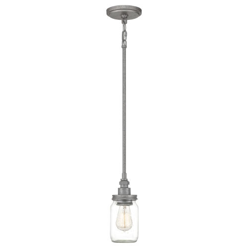 Squire Galvanized 4-Inch One-Light Mini Pendant with Clear Glass